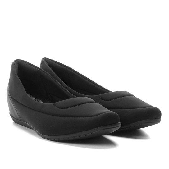 Sapatilha Comfortflex Flexível Salto Embutido Feminina - Preto