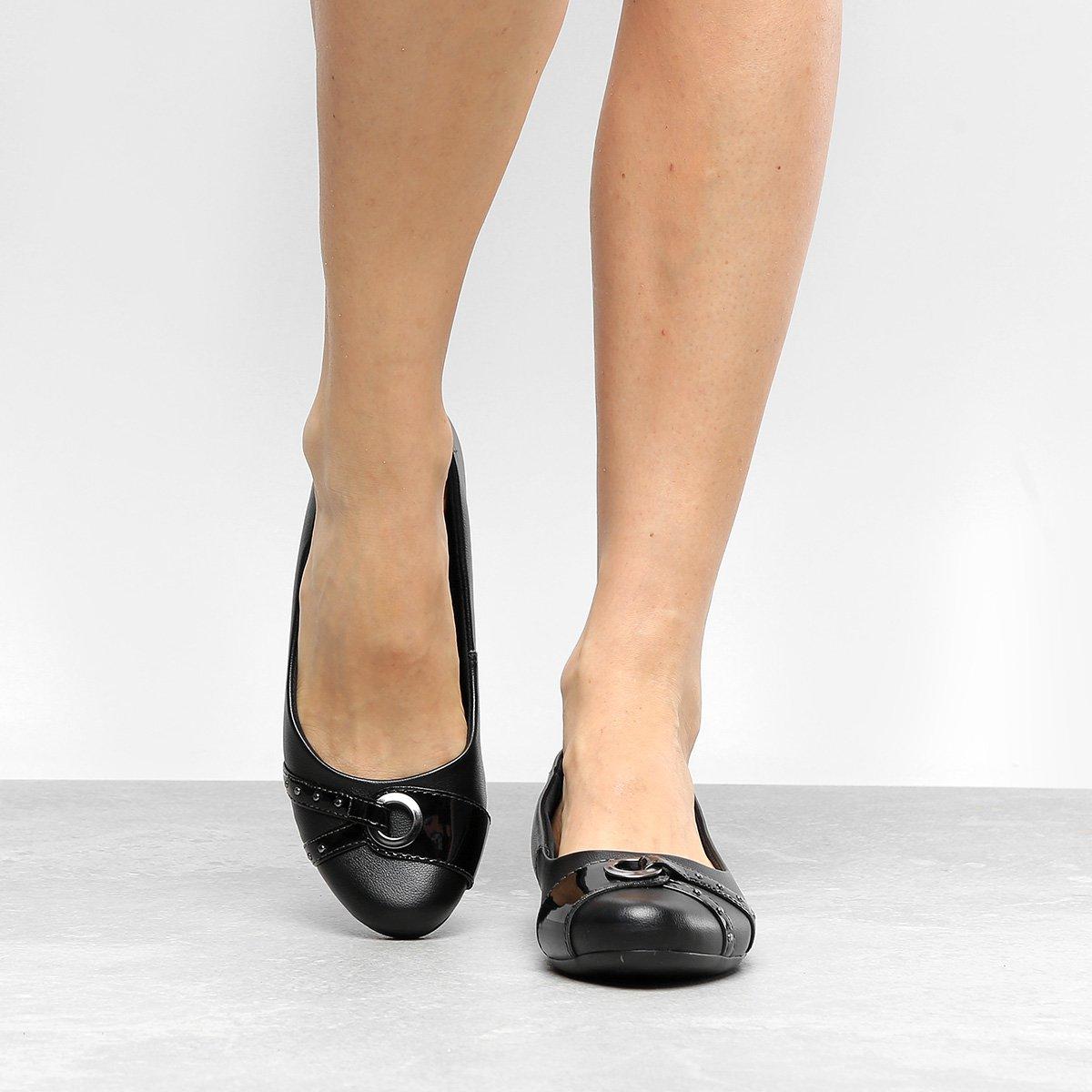 Sapatilha Comfortflex Salto Feminina Multi Metais Preto Embutido Metais Multi Comfortflex Sapatilha Salto Embutido rrqdHPxn