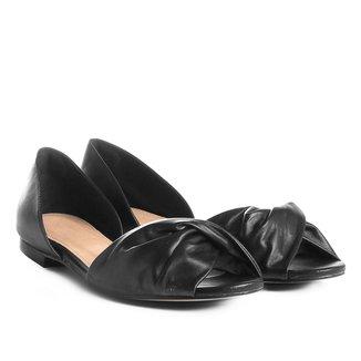 Sapatilha Couro Shoestock Aberta com Drapeado Feminina
