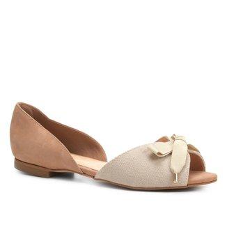 Sapatilha Couro Shoestock Aberta Lona Feminina