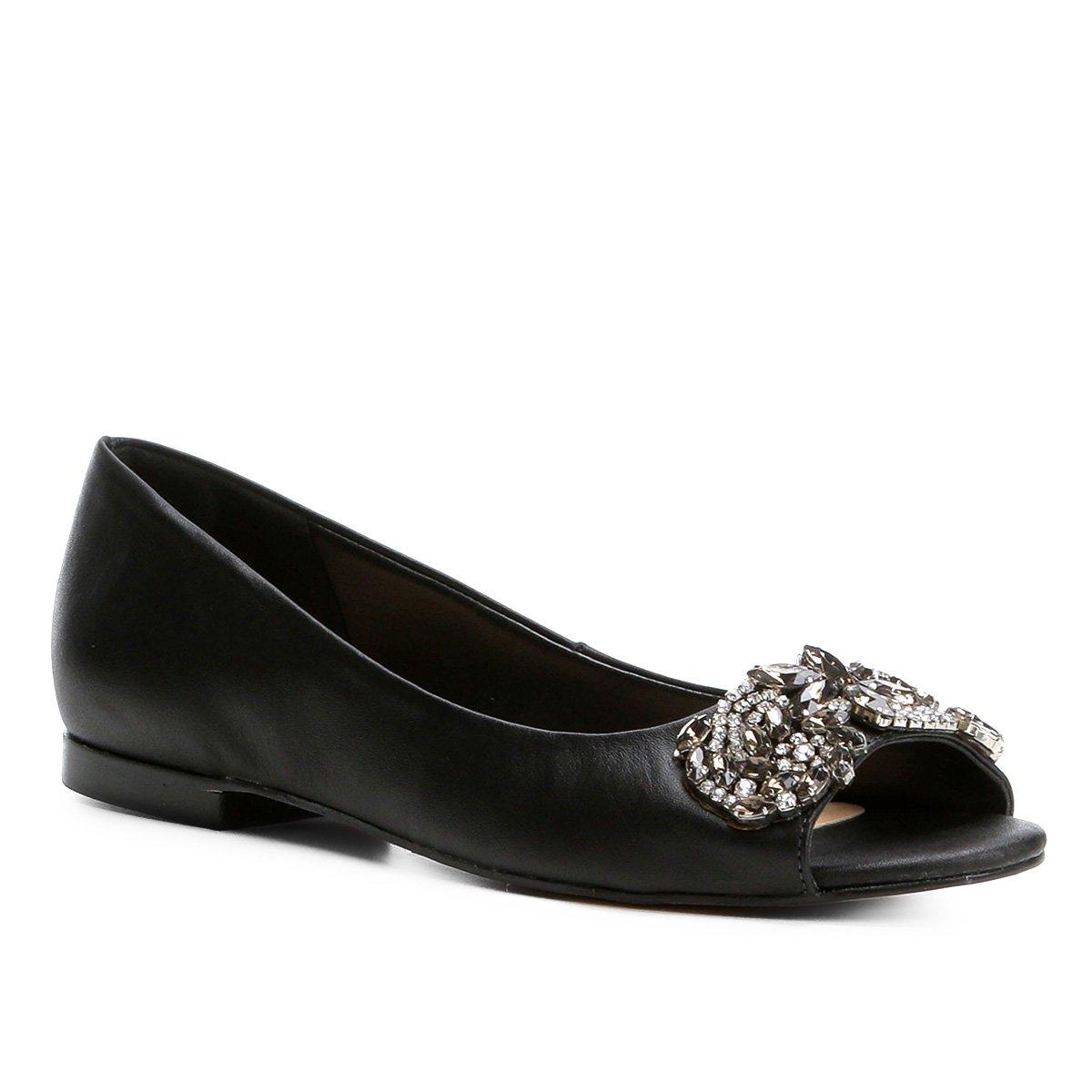 Feminina Shoestock Couro Sapatilha Preto Aberta Sapatilha Couro Pedraria Shoestock TOq0gOZx