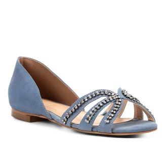 Sapatilha Couro Shoestock Aberta Strass Feminina