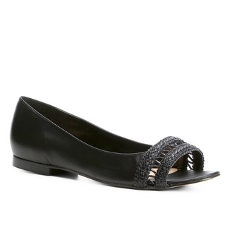 Sapatilha Couro Shoestock Aberta Trança Feminina