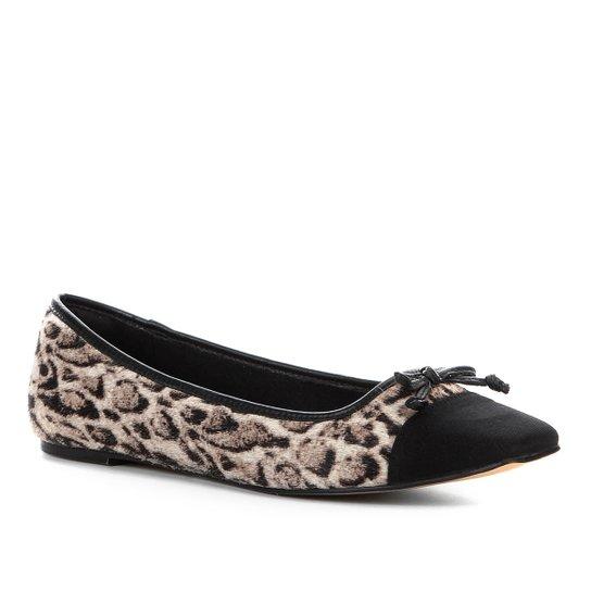 Sapatilha Couro Shoestock Animal Print Panther Feminina - Cinza