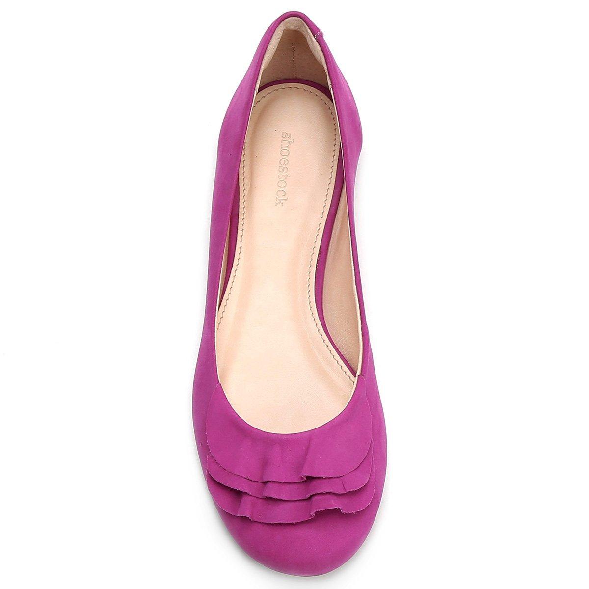 Feminina Sapatilha Babados Shoestock Pink Couro Couro Sapatilha dXwxZRq1q