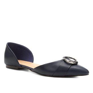 Sapatilha Couro Shoestock Bico Fino Argola Feminina
