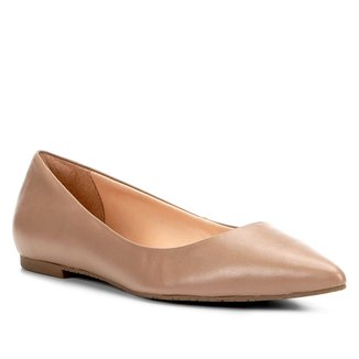 Sapatilha Couro Shoestock Bico Fino Básica Feminina