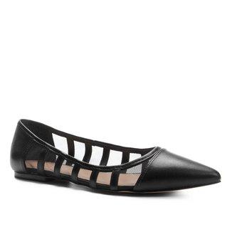 Sapatilha Couro Shoestock Bico Fino com Tela Feminina