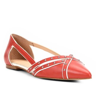 Sapatilha Couro Shoestock Bico Fino Cravos Feminina