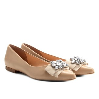 Sapatilha Couro Shoestock Bico Fino Cristal Feminina