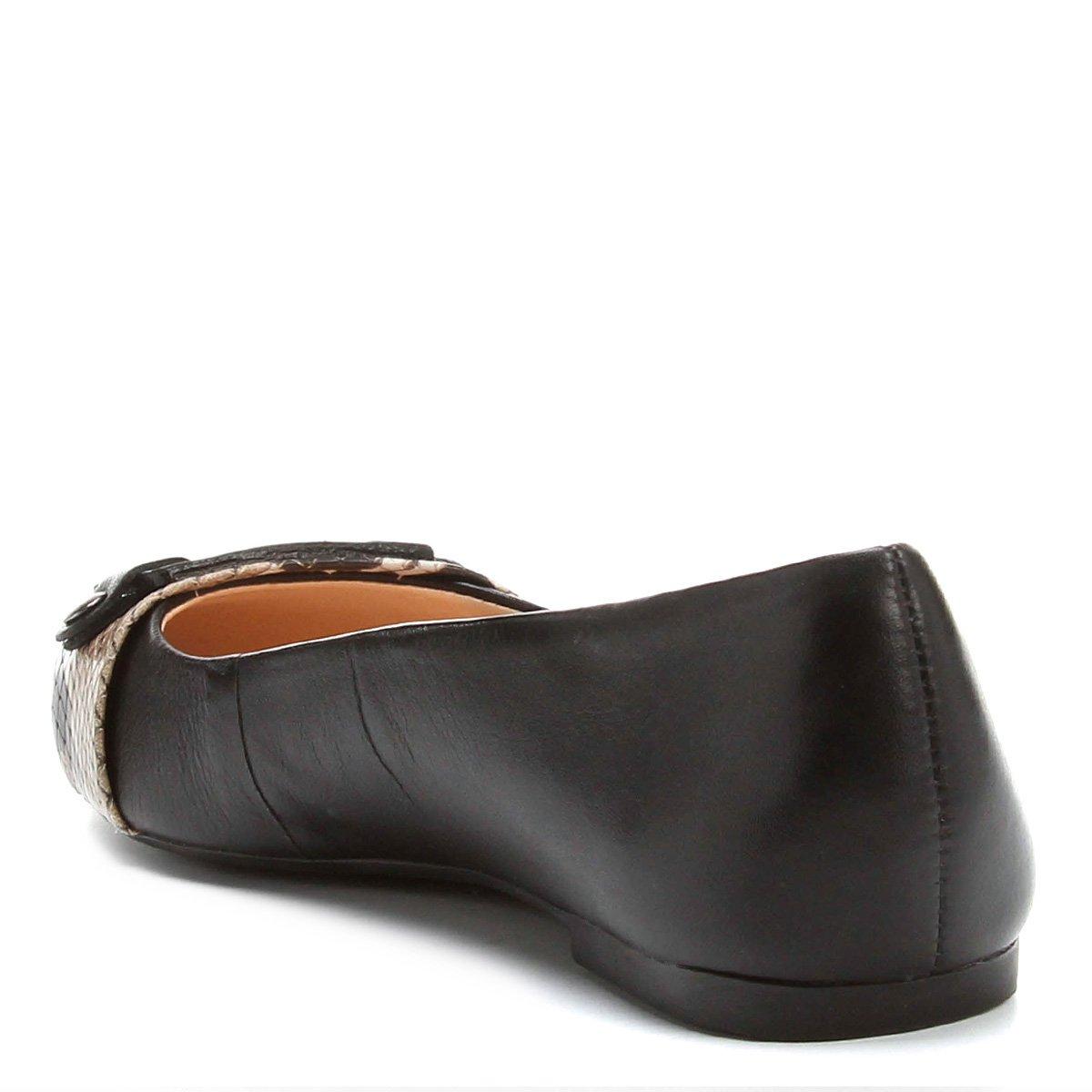 Sapatilha Sapatilha Fivela Preto Bico Feminina Fino Shoestock Couro Couro UUSqx4r