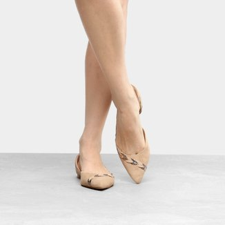 Sapatilha Couro Shoestock Bico Fino Folhas Feminina