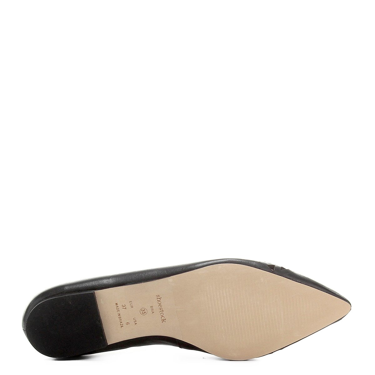 Lasercut Fino Couro Bico Couro Sapatilha Shoestock Sapatilha Preto Feminina Bico Shoestock 0T8Bnqx0