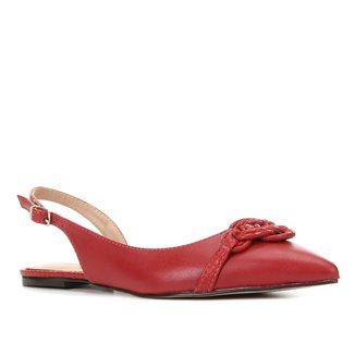 Sapatilha Couro Shoestock Bico Fino Macramê Feminina