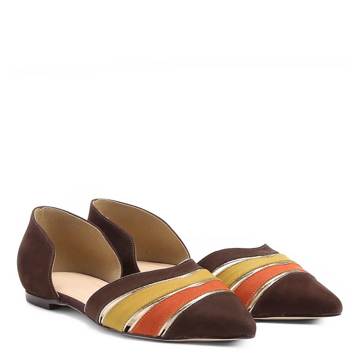 Bico Marrom Couro Shoestock Feminina Sapatilha Multicor Sapatilha Couro Fino wICqxB4