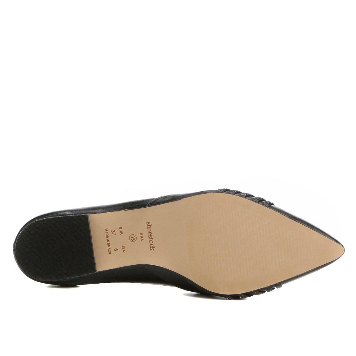 Bico Bico Nó Feminina Fino Sapatilha Shoestock Sapatilha Preto Couro Couro Shoestock FwBqdF