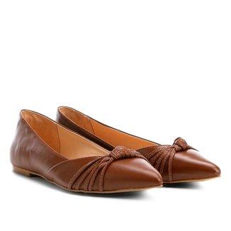 Sapatilha Couro Shoestock Bico Fino Nó Feminina
