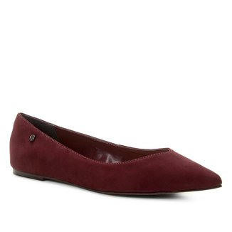 Sapatilha Couro Shoestock Bico Fino Nobuck Feminina
