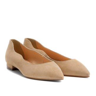 Sapatilha Couro Shoestock Bico Fino Ondas Feminina
