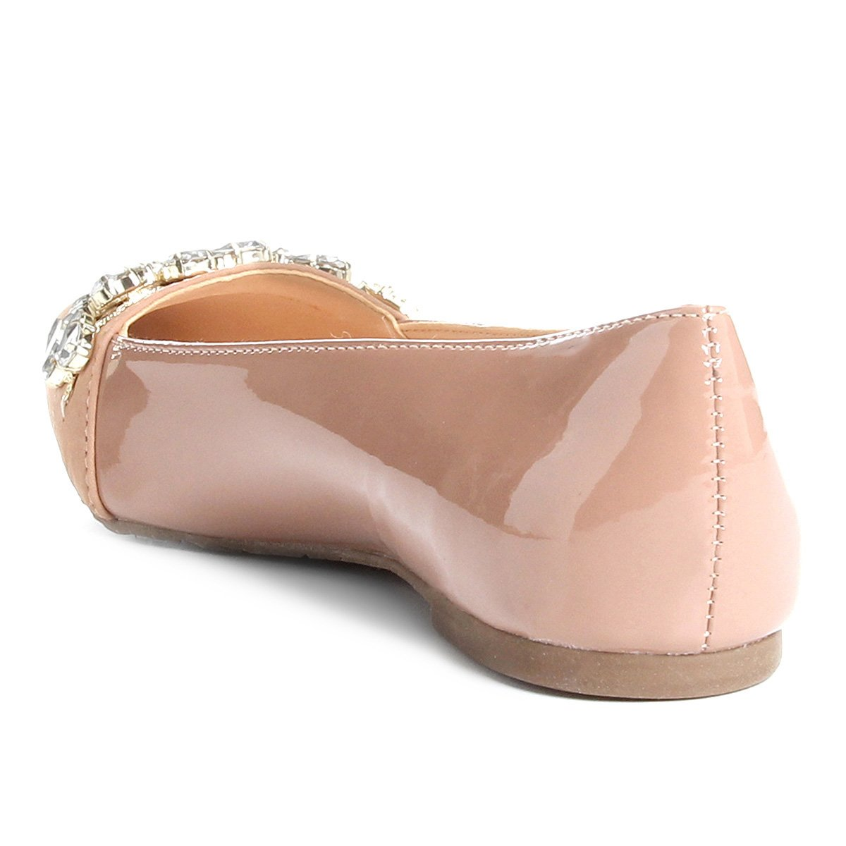 Shoestock Feminina Fino Bico Pedraria Nude Shoestock Sapatilha Sapatilha Couro Couro wYXqOIW8