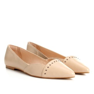 Sapatilha Couro Shoestock Bico Fino Rebites Feminina