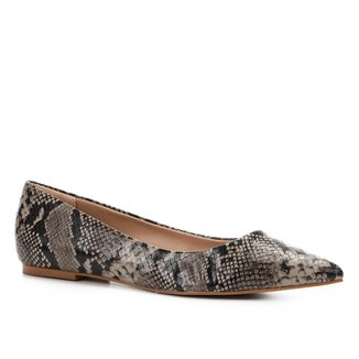 Sapatilha Couro Shoestock Bico Fino Snake Feminina