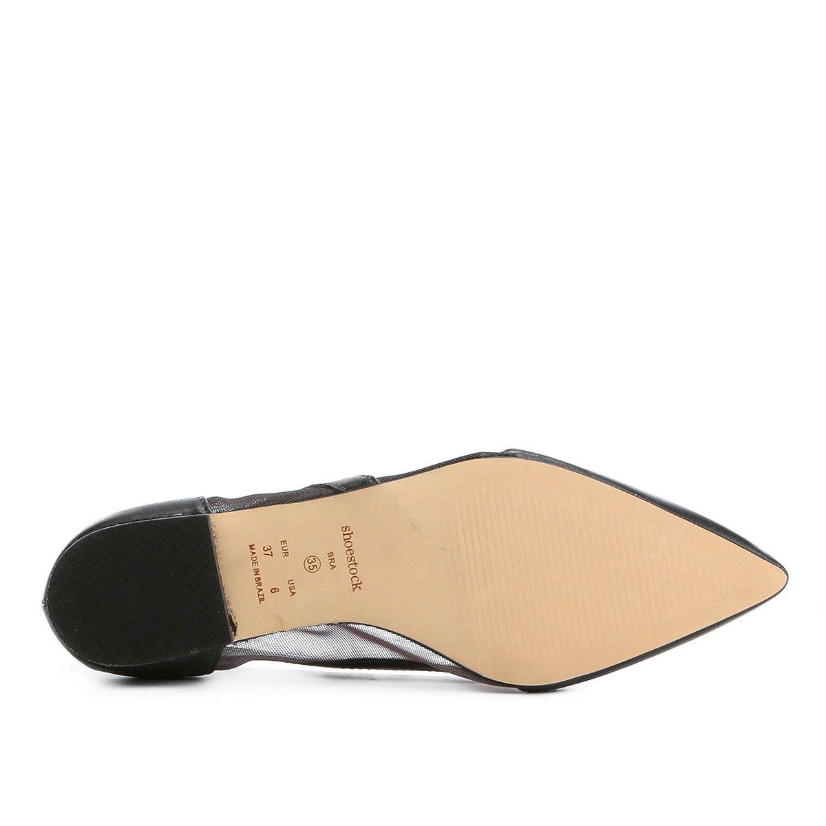 Fino Fino Tela Couro Shoestock Feminina Sapatilha Bico Tela Preto Shoestock Sapatilha Bico Couro zwwA1q