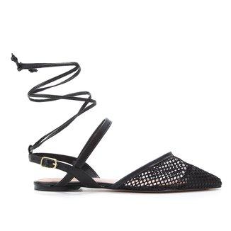Sapatilha Couro Shoestock Bico Fino Tela Feminina