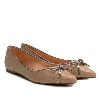 Sapatilha Couro Shoestock Bico Fino Textura Feminina