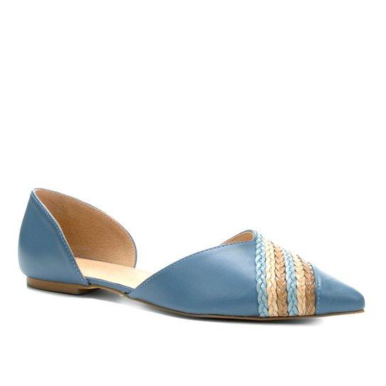 Sapatilha Couro Shoestock Bico Fino Tranças Feminina - Azul