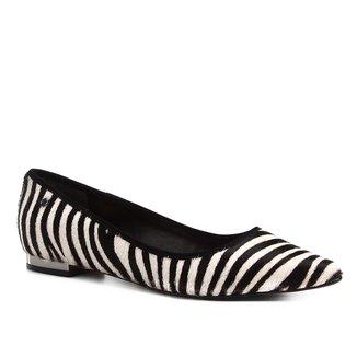 Sapatilha Couro Shoestock Bico Fino Zebra Feminina