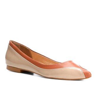 Sapatilha Couro Shoestock Bico Redondo Ondas Feminina