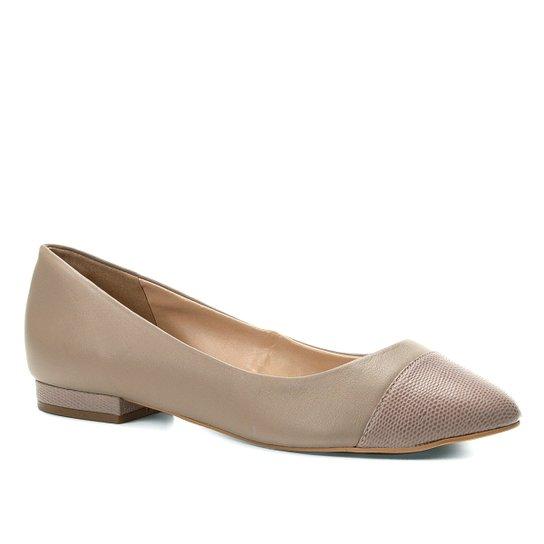 Sapatilha Couro Shoestock Bico Redondo Wild Feminina - Cinza