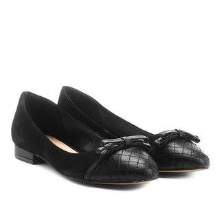 Sapatilha Couro Shoestock Bicolor Laço Feminina