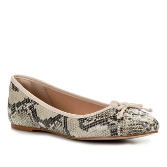 Sapatilha Couro Shoestock Cobra Laço Feminina