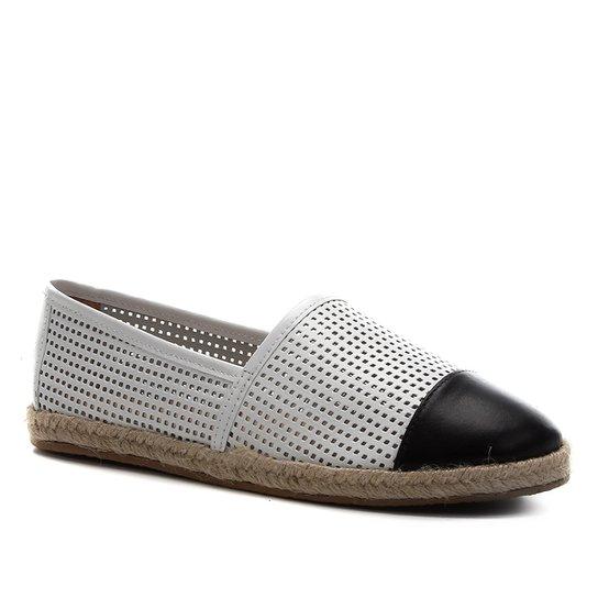 Sapatilha Couro Shoestock Corda Laser Feminina - Preto+Branco