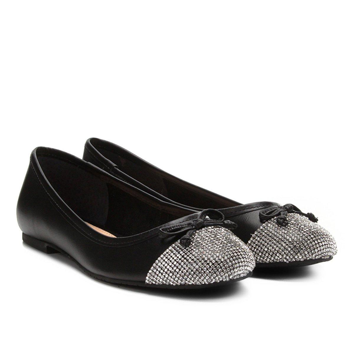 Cristal Feminina Prata Sapatilha Shoestock Couro Preto Sapatilha Couro e v8IIxXz