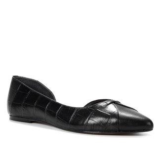 Sapatilha Couro Shoestock Croco Recorte Feminina