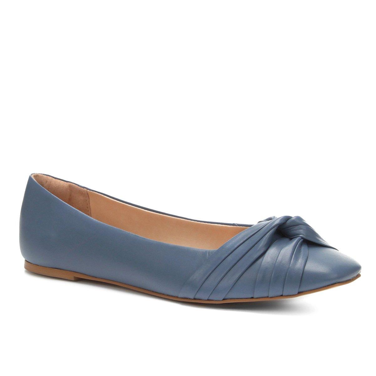 Couro Couro Azul Drapeada Drapeada Sapatilha Couro Shoestock Feminina Feminina Azul Shoestock Drapeada Shoestock Sapatilha Sapatilha xxn4qfA