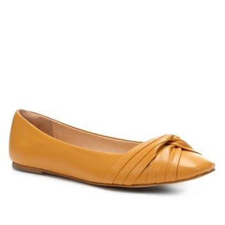 Sapatilha Couro Shoestock Drapeada Feminina