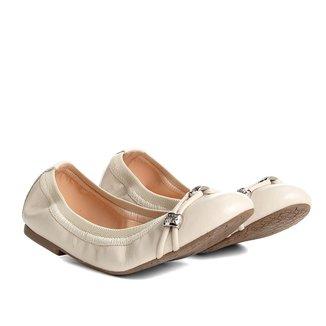Sapatilha Couro Shoestock Elástico Metais Feminina
