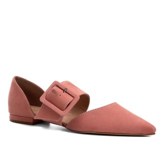 Sapatilha Couro Shoestock Flat Nobuck Fivela Feminina