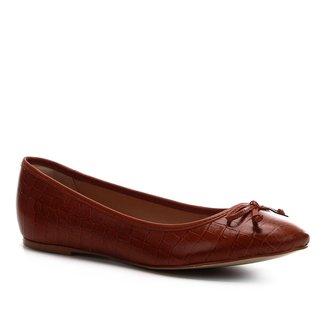 Sapatilha Couro Shoestock Laço Bico Redondo Feminina