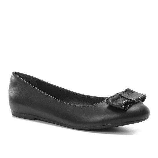 Sapatilha Couro Shoestock Laço Feminina - Preto