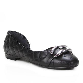 Sapatilha Couro Shoestock Matelassê Metal Feminina