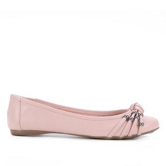 Sapatilha Couro Shoestock Miçangas Feminina