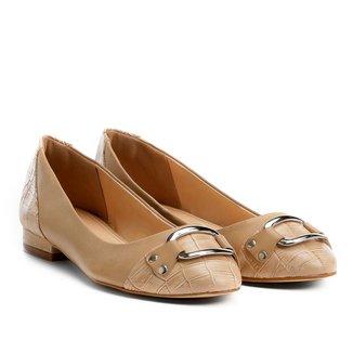 Sapatilha Couro Shoestock Mix Croco Feminina