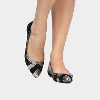 Sapatilha Couro Shoestock Mix Materiais Feminina