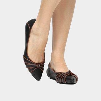 Sapatilha Couro Shoestock Nó Bicolor Feminina