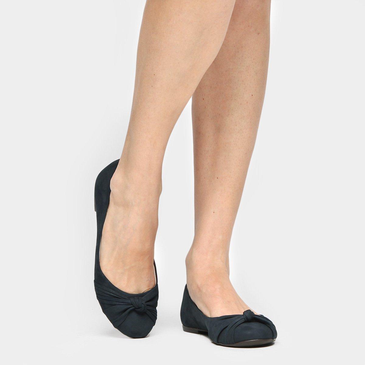 Feminina Couro Sapatilha Sapatilha Couro Shoestock Nó Shoestock Nó Marinho Feminina axwZPFf88